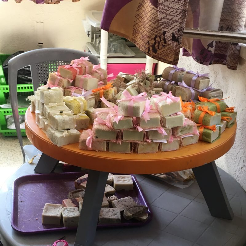 Handmade olive oil soap made by Iraqi refugees at the church to help them earn income as they are not permitted to work in Jordan.